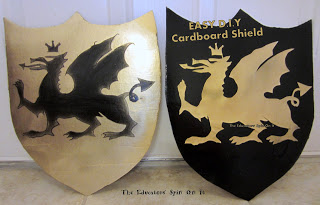 Make a DIY Knights Shield for preschool pretend play. Eco friendly costume. Make your own dress up costume.