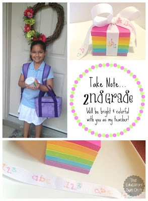 Teacher Gift Idea using Post It Notes includes printable gift tag