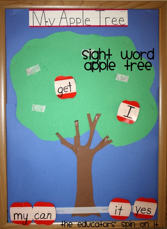 Learn to read Sight Words: Apple Sight Word Game for Kindergarten, fall literacy activities