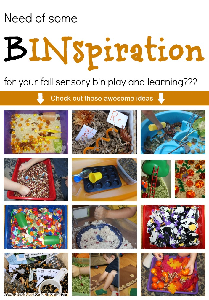 Sensory Bin Inspiration Ideas for learning and play