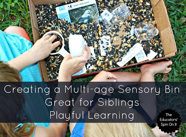 Making a multi age sensory bin for sibling play and learning: Great for homeschoolers
