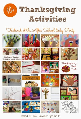 Thanksgiving Activities for Kids featured at the After School Linky Party
