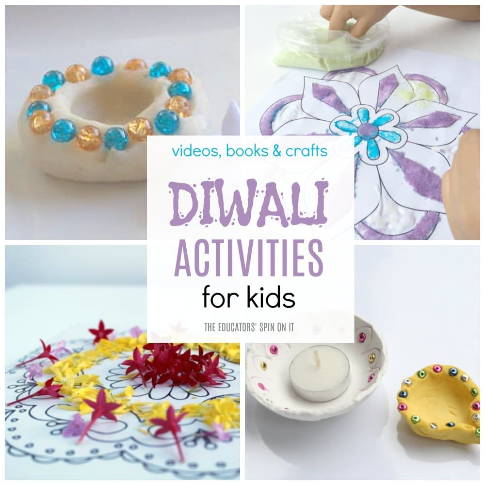 Diwali Activities for Kids featuring crafts, books and videos