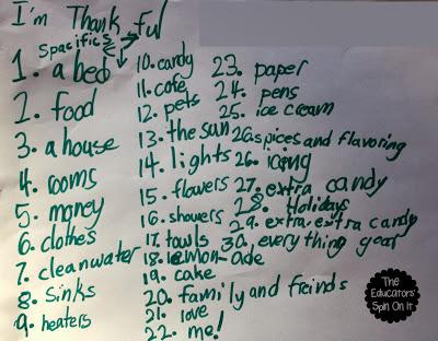 thankful list, elementary school writing
