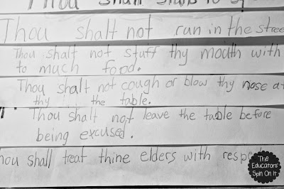 manners, elementary school writing