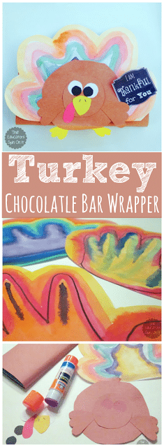 Thanksgiving Gift Idea using Chocolate Bar Wrapper shaped like a turkey from The Educators' Spin On it