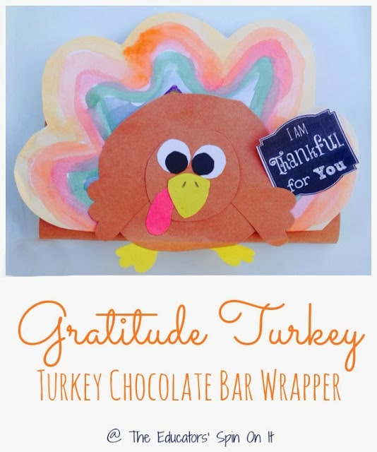 Gratitude Turkey to create a Turkey Shaped Chocolate Bar Wrapper from someone special in your child's life.