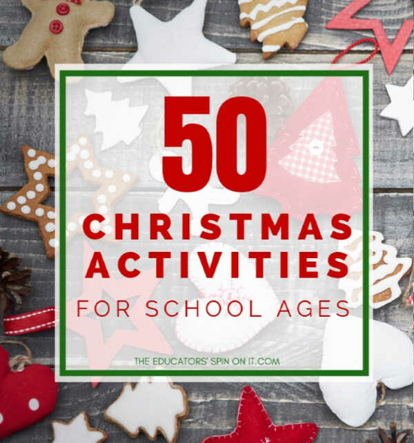 50 Christmas Activities for School ages. Creative ideas for crafts and sneaking learning activities using a Christmas theme.