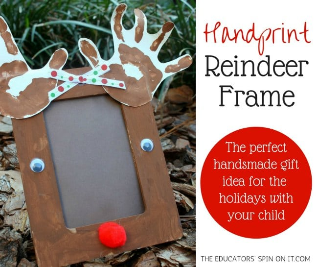 Handprint Reindeer Frame for Kids #christmas #handprintcraft