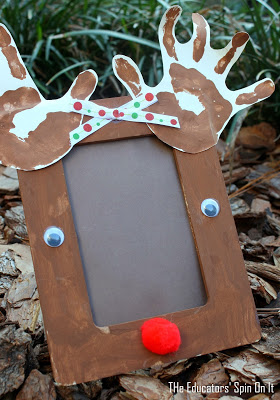 Christmas craft to create a reindeer picture frame from The Educators' Spin On It : Reindeer Craft Frame