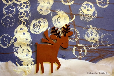 reindeer craft, stamping