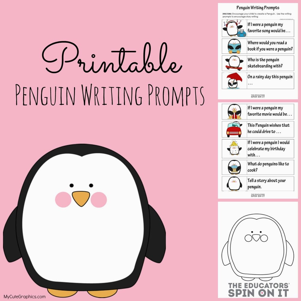 Printable penguin writing prompts for kids plus a fun sewing project from The Educators' Spin On It