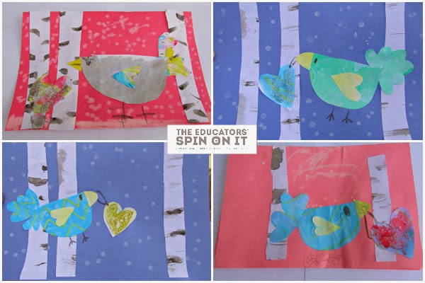 Winter Birds Heart Card from The Educators' Spin On It