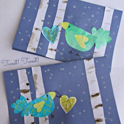 Valentine Card Idea with Winter Birds