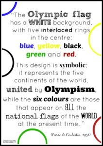 Quote about what the Olympic Ring Colors Represent by Pierre de Coubertin