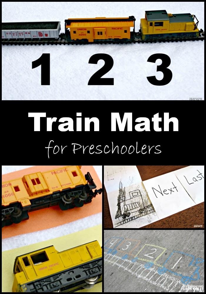 preschool math with trains, 1,2, 3
