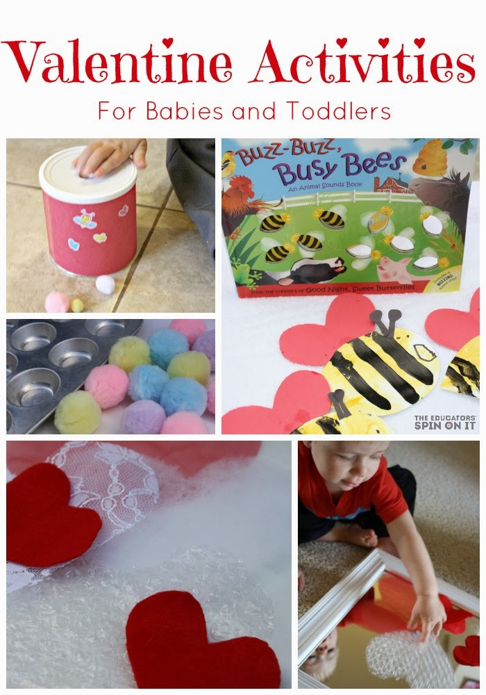 A collection of Valentine activity ideas for baby and toddlers; including pom pom play
