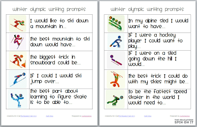 Icons of Winter Games for Writing Prompts for Kids
