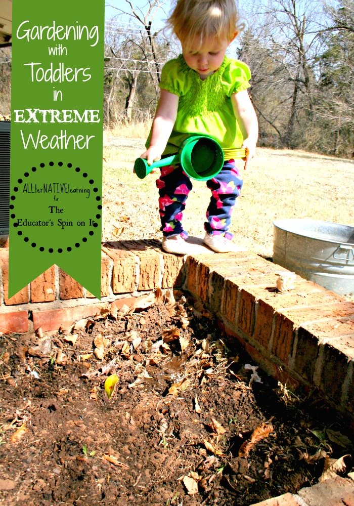 kids gardening in harsh weather conditions
