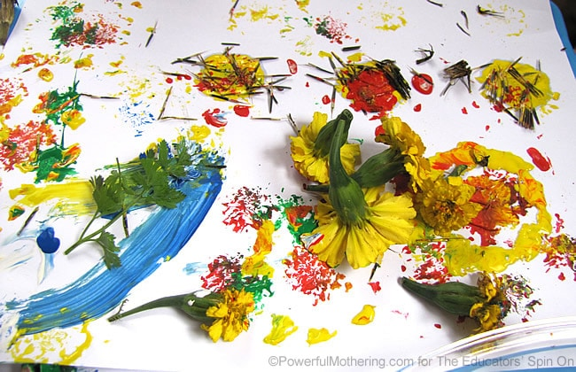 make a painted garden with real flowers
