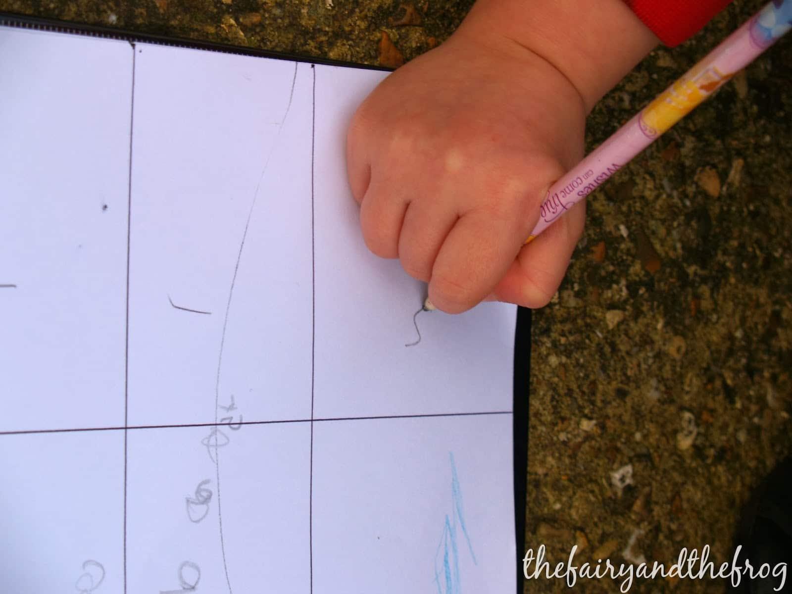 preschool garden scavenger hunt, counting