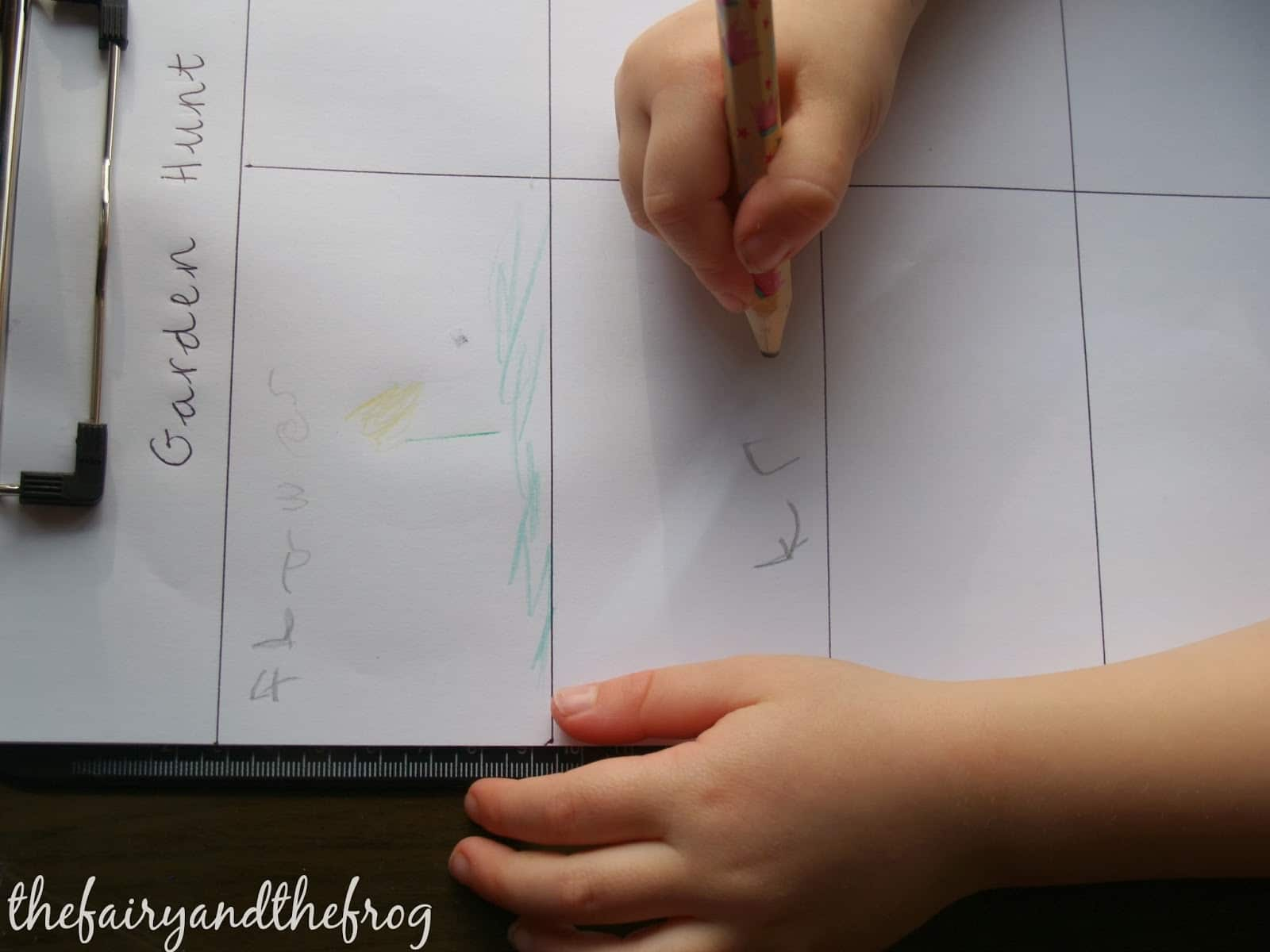 clip board writing and math garden activity
