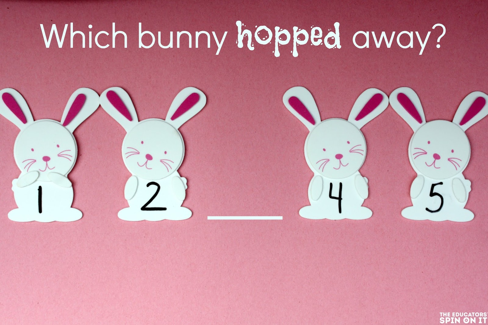 Easy D.I.Y. bunny math game for preschoolers
