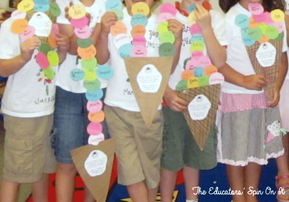 Ice Cream Cones of Classmates for End of Year Party from the Educators' Spin On It