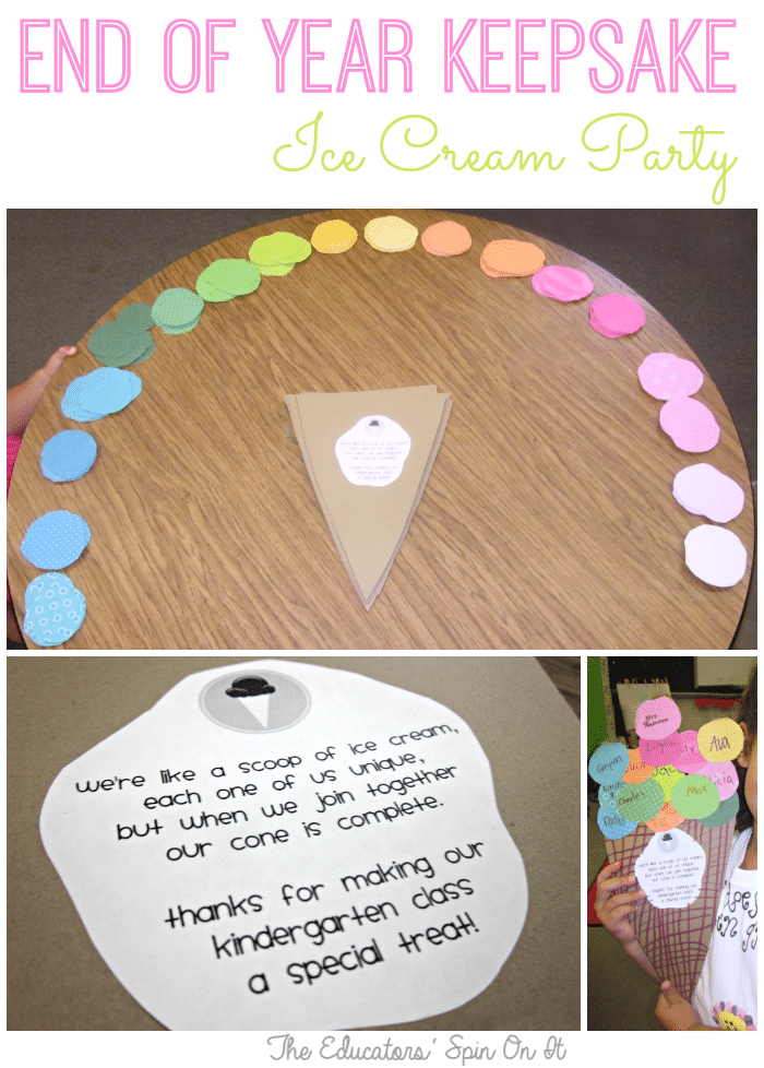 End of School year Keepsake Ice Cream Theme from The Educators' Spin On It