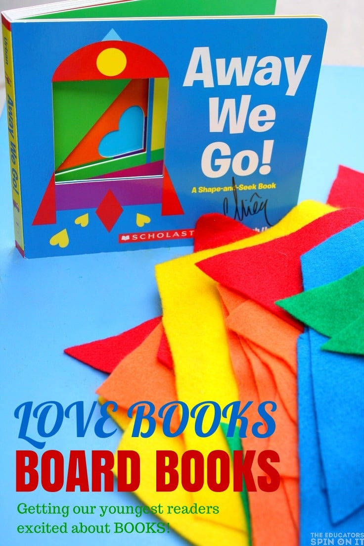 Away We Go book review and todder shape activity with giant pattern blocks.