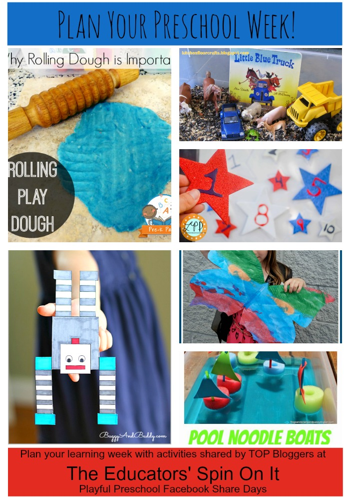 Plan Your Preschool Week!  #EDUspin.  Playdough Station, Star Number Hunt, Giant Butterfly Wings, Balancing Robot and MORE!!!! Don't MISS this post!