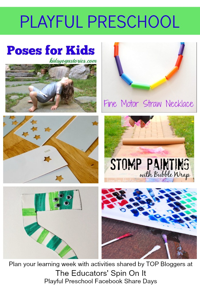 Playful Preschool Activities from TOP Bloggers shared at The Educators' Spin On It