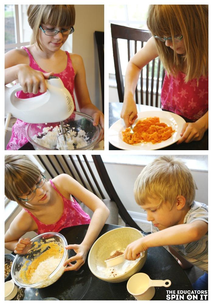 Kids helping to make a healthier brownie cookie recipie