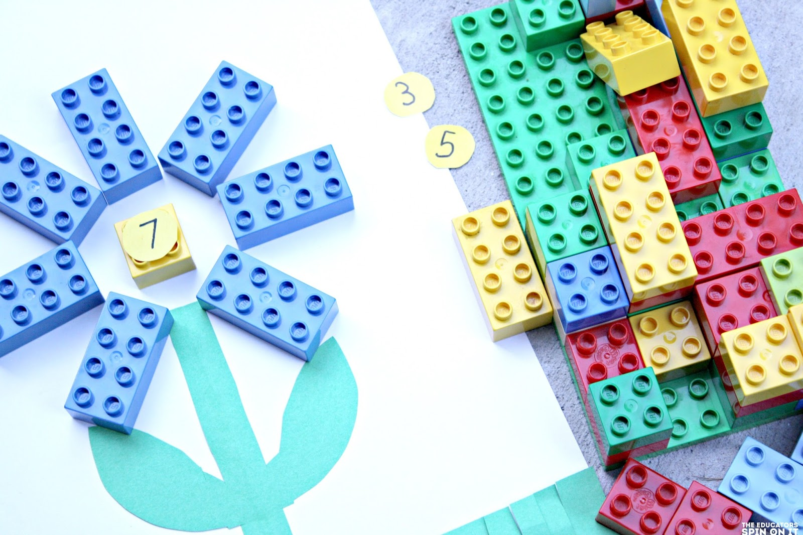 Preschool LEGO inspired Math activity; number recognition and number sense