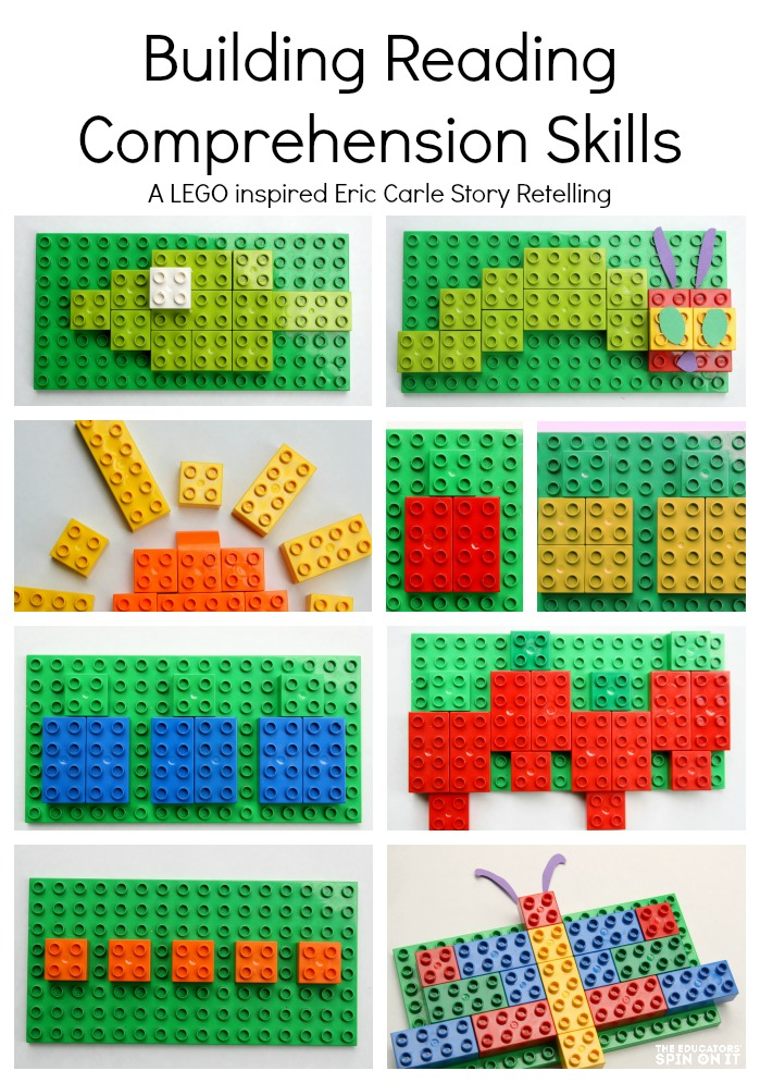 LEGO bricks retelling story of The Very Hungry Caterpillar by Eric Carle