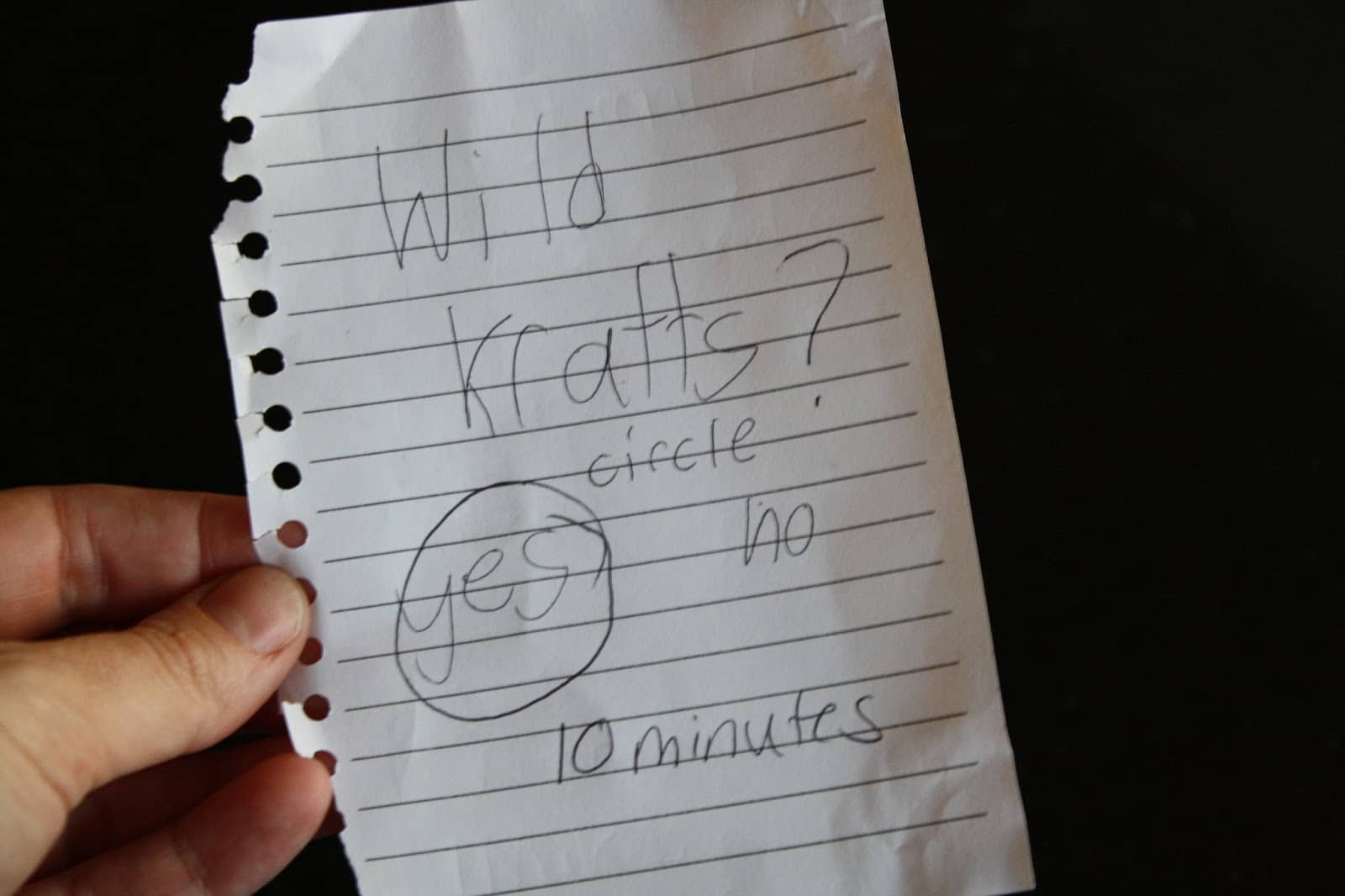 Kid written permission note - Wild Kratts? Circle yes or no