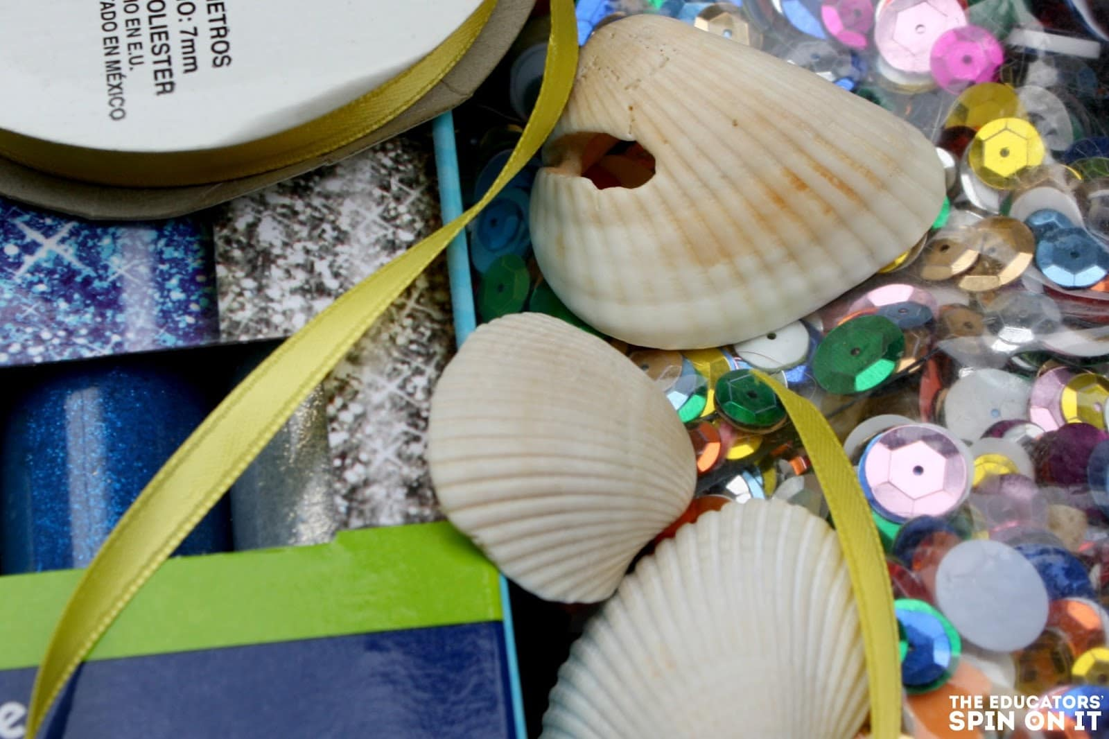 Supplies for a DIY Mermaid Shell Necklace. Great kid-made gift.