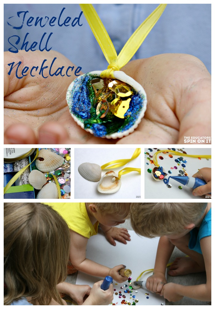 Make a mermaid shell necklace from your family beach vacation. Great kid-made keepsake. Easy DIY craft for kids. Works well with siblings.
