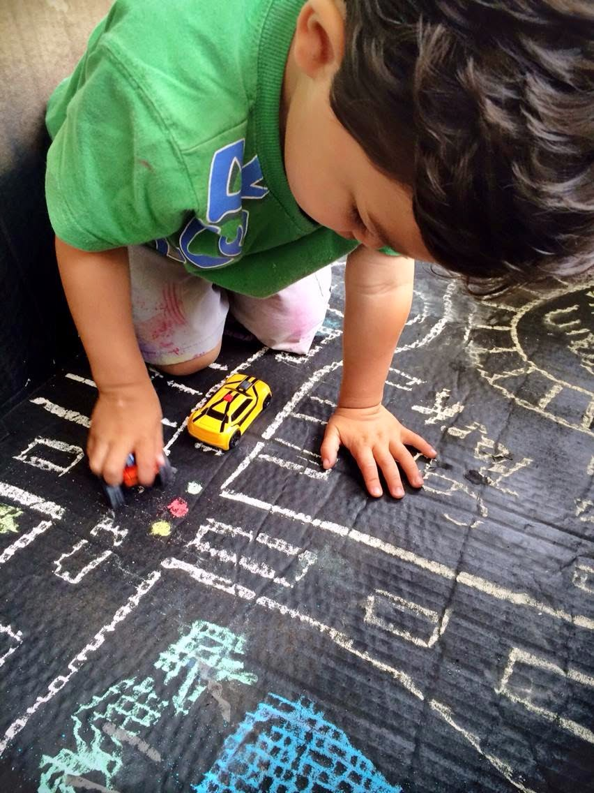 Create your own DIY Chalkboard Box Town for hours of fun! @ The Educators' Spin On It