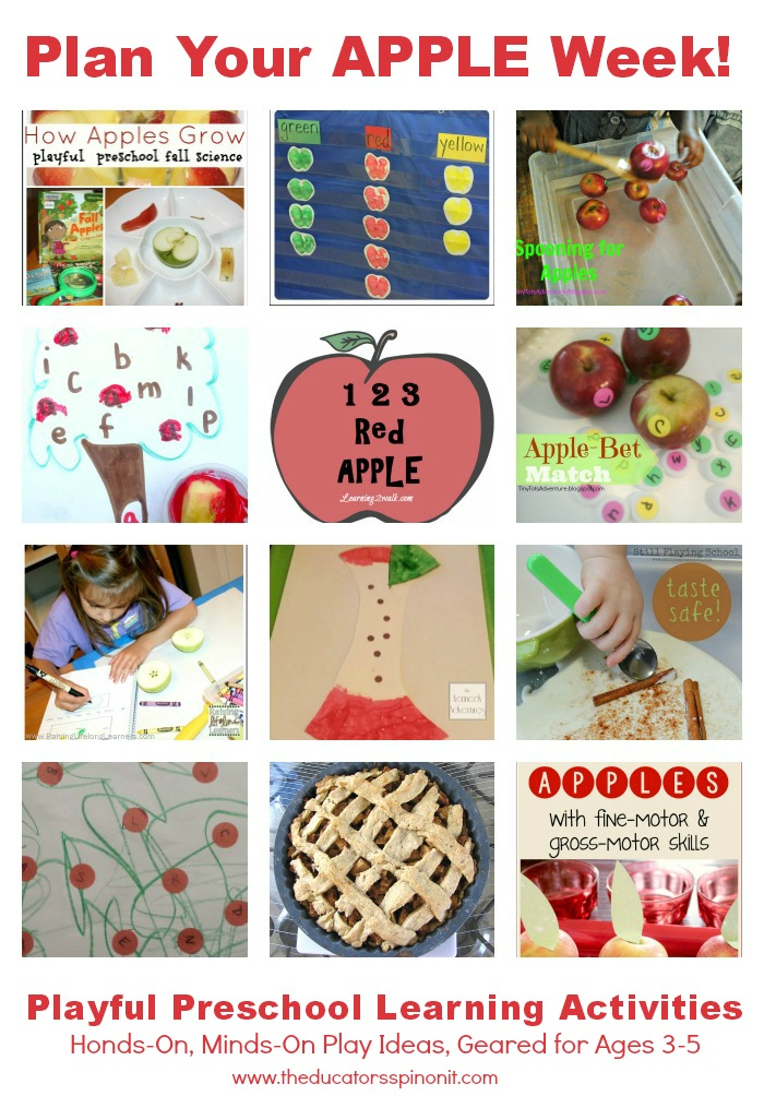Plan your Preschool Apple Theme Week with Preschool Apple Theme Activities