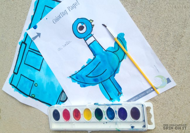 Pigeon and Bus Activities inspired by Mo Willems - water color activity