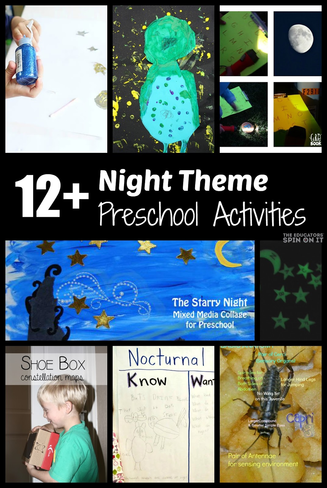 Preschool Activities for Night Theme: Bat Sonar Game, Glow in the Dark Sensory Bin, Starry Night Mixed Media Collage, Owl Painting, Nocturnal Animal KWL chart, Shoe Box Constellation Activity and MORE!