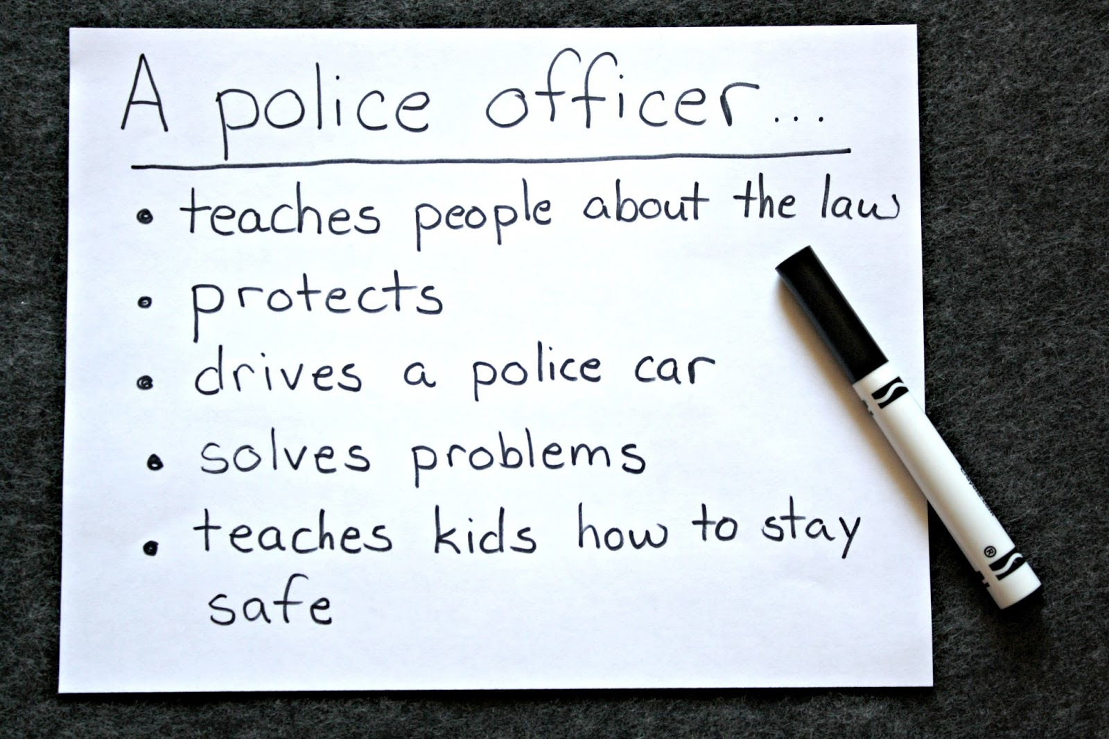 Make a list of Community Helpers and how they can help with your preschooler.