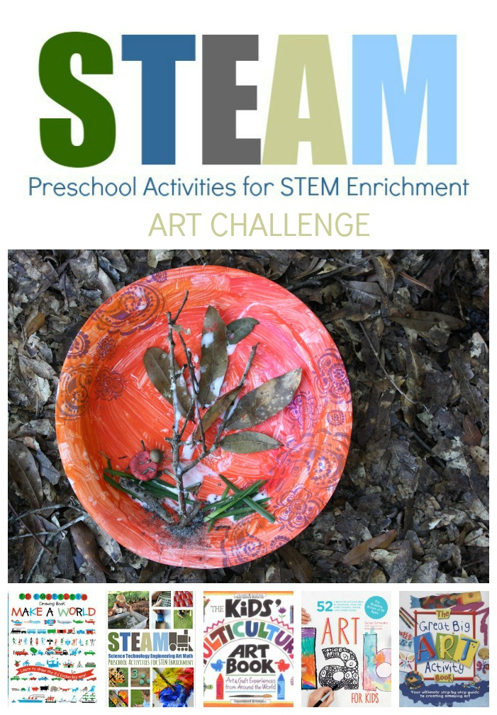 Preschool Activities for STEAM #STEM: Art Challenge Fall Bug Habitat, a paper plate, clay, and paint nature educational craft for kids