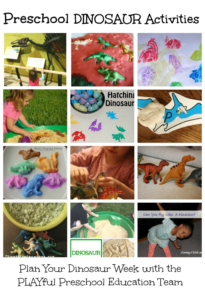 PLayful Preschool Dinosaur Weekly Lesson Plan. Dinosaur math, dinosaur reading, dinosaur science, dinosaur art and more activities for preschool age children.