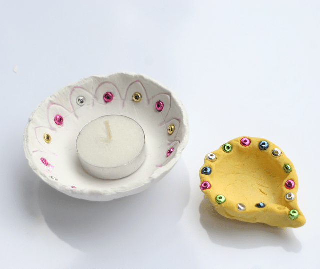Diya Craft for Diwali for Kids using Air Clay and beads