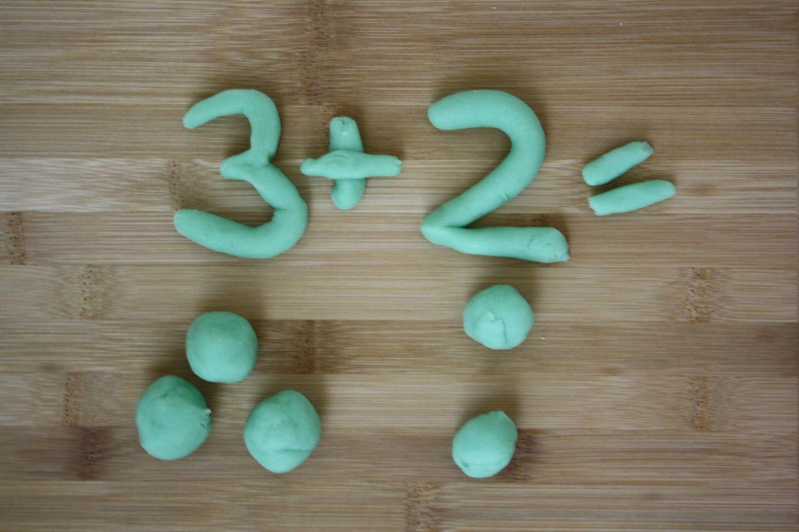Early Learning, mathematics addition activity with playdough