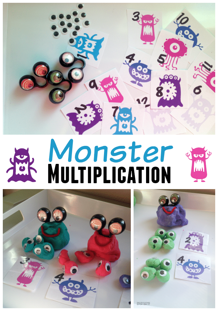 Monster Math Activities for Kids featured at The Educators' Spin On It. A fun way to learn to identify number, additiona, subtraction, multiplicaiton and division using hands on fun with playdough Monsters and printables