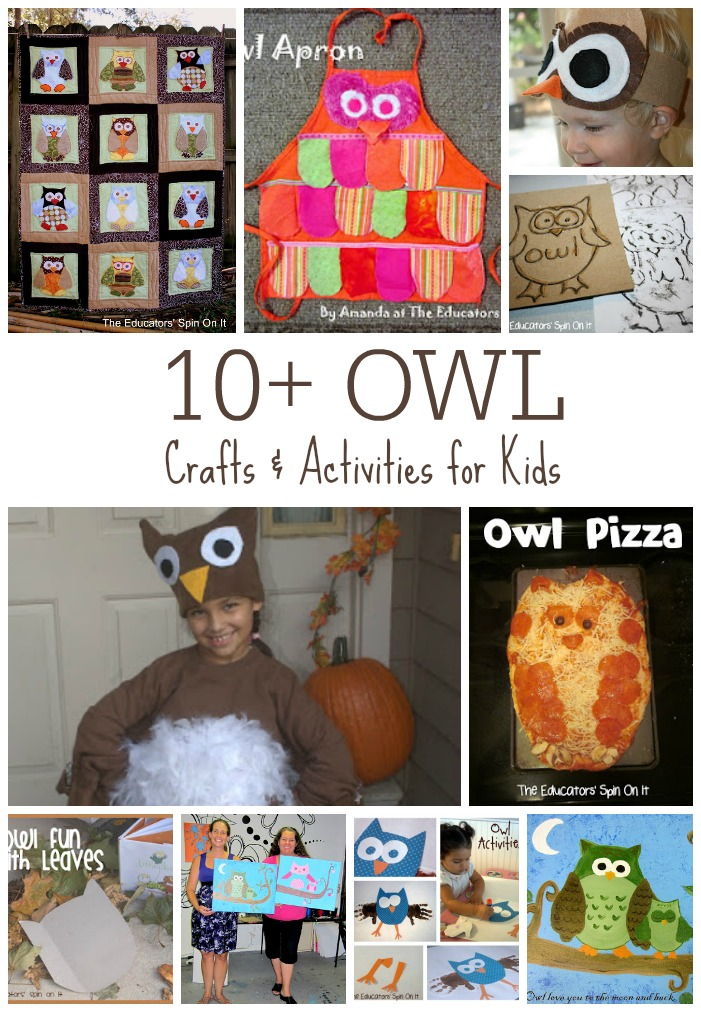 Owl crafts, owl pizza, owl costume, owl leaf rubbing, owl painting, owl activities