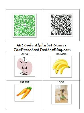 preschool technology education QR codes for beginning sounds